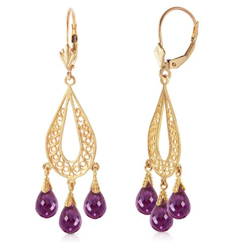 3.75 Carat 14K Solid Gold Chandelier Earrings Natural Amethyst