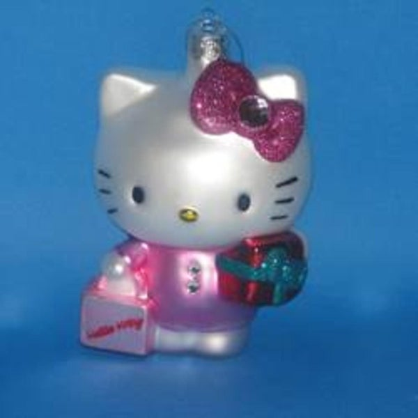 """4.75"""" Hello Kitty with Present Glass Decorative Christmas Ornament - PInk"""