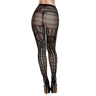 Plus Size Net And Lace Patterned Pantyhose, Plus Size Black Net Pantyhose - as shown - Queen