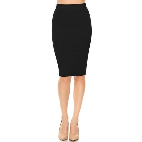 Women's Plus Size High Waist Solid Midi Skirt