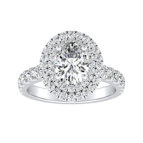 Auriya Platinum 1 1/4ctw Classic Oval-cut Halo Diamond Engagement Ring