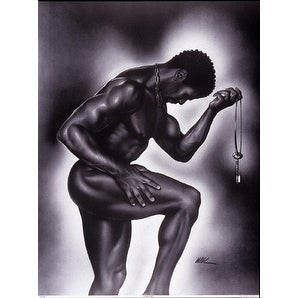 ''Lock and Key (Male)'' by WAK - Kevin A. Williams African American Art Print (30 x 22 in.)