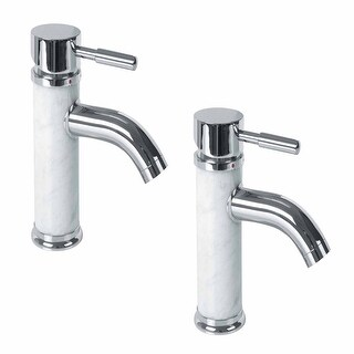 2 Bathroom White Marble Faucet Chrome Single Hole 1 Handle Renovator's Supply