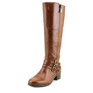 Bandolino Carsononi Wide Calf Women Round Toe Leather Brown Knee High Boot