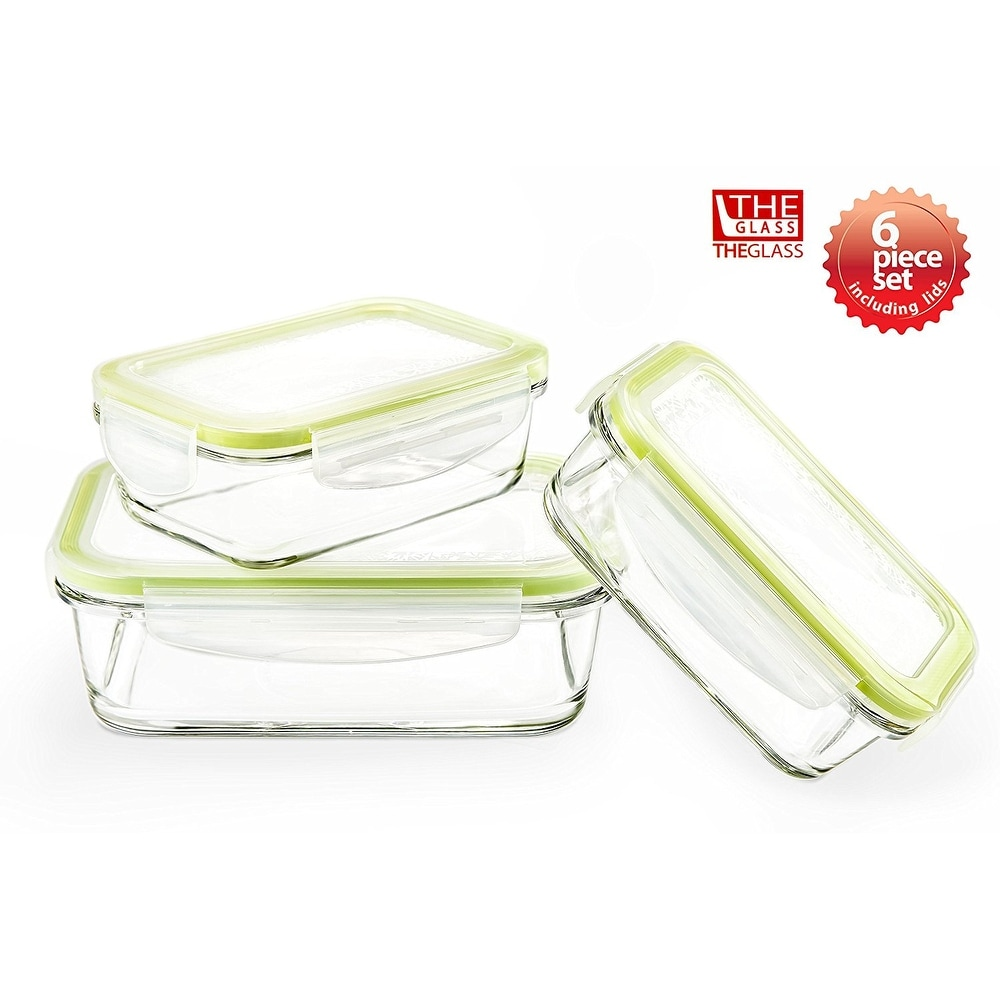 The Glass 6 Piece Rectangular Food Storage Container Set - Thumbnail 0