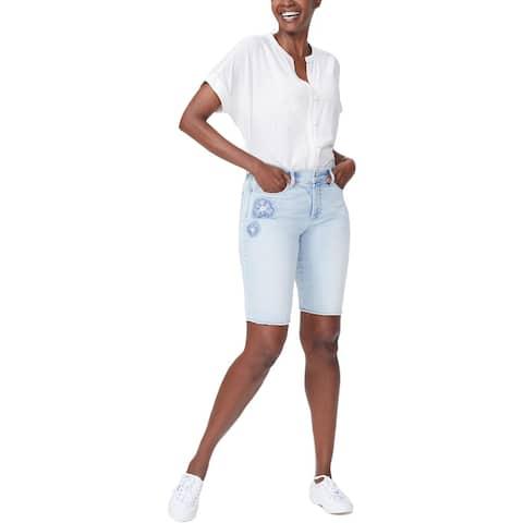 NYDJ Womens Briella Denim Shorts Embroidered Floral