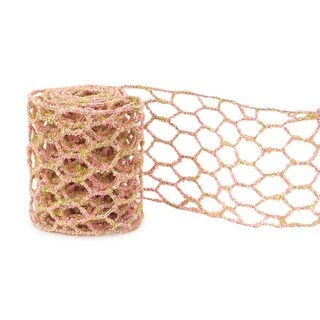 """Club Pack of 12 Pink and Green Micro-Beaded Netted Wired Craft Ribbon 4"""" x 24 Yards"""