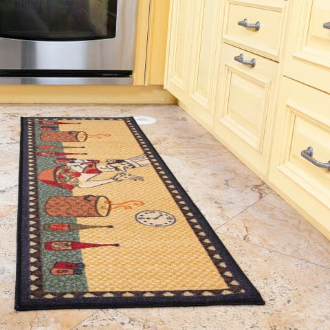 Siesta Peppers Wine Fruits Chef Rooster Coffee Theme Kitchen Runner Rug