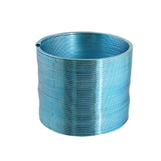 Children Shiny Plastic Round Slinky Spring Magic Toy Blue