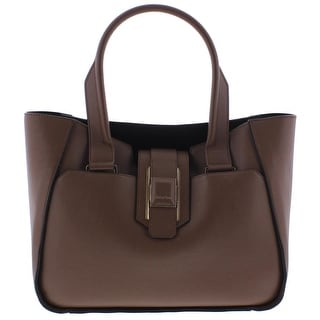 Calvin Klein Womens Smooth Leather Tote Handbag Leather Unlined - Truffle - Large