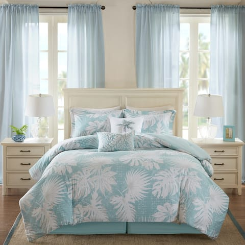 Harbor House Palm Grove Blue Cotton Printed 6 Piece Comforter Set