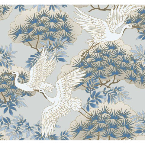 Glendora Sprig & Heron Light Blue Wallpaper