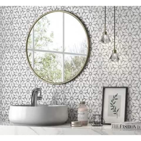 "Carrara Marble Mosaic Decorative Backsplash Tile, 11""x 12""x 0.38""/pc - 10pc"