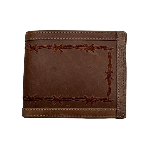 3D Western Wallet Mens Bifold Card Slots Currency Pocket Brown