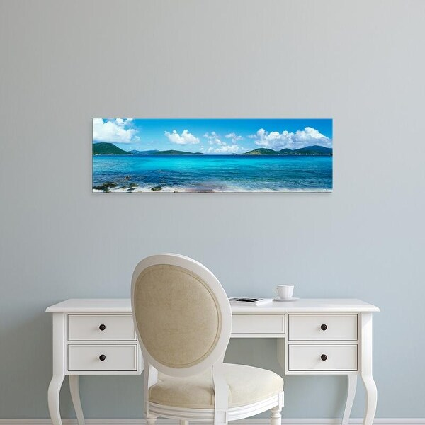 Easy Art Prints Panoramic Image 'British Virgin Islands, St. John, Sir Francis Drake Channel, seand island' Canvas Art