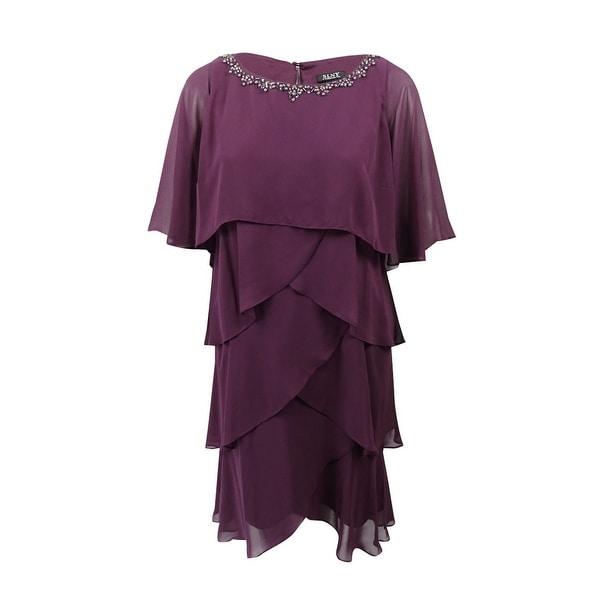 ab0767c734c Shop SL Fashions Women s Plus Size Embellished Tiered Chiffon Dress ...