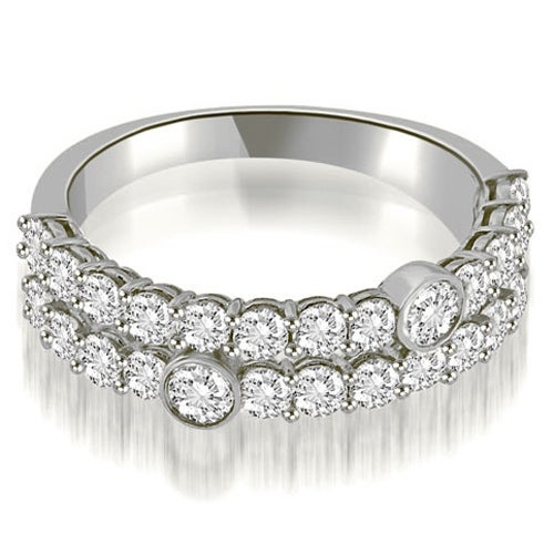1.40 cttw. 14K White Gold Two-Row Round Cut Diamond Wedding Ring