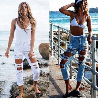 Women's Stylish Crimping Ripped Wild Sexy Mid Rise Destroyed Cropped Jeans