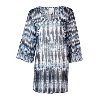 Bar III Women's Striped Print V-Neck Tunic Swimsuit Cover