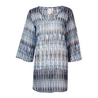 Bar III Women's Striped Print V-Neck Tunic Swimsuit Cover - INDIGO