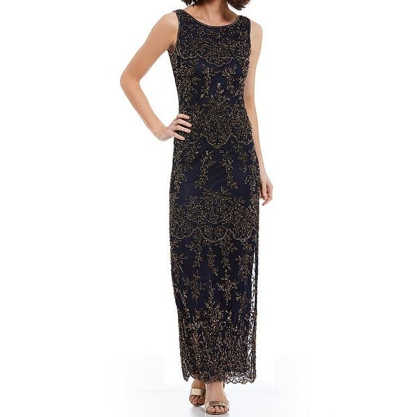 6841a46887 Shop Pisarro Nights NEW Blue Gold Womens Size 14 Embellished-Overlay ...