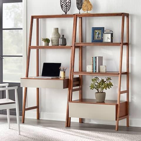 Lifestorey Nordic Ladder Desk and Bookshelf 2-Piece Set