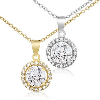 """Link to Lusoro 18"""" Sterling Silver Halo Pendant Necklace - AAA Cubic Zirconia Similar Items in Necklaces"""