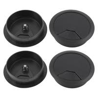 Unique Bargains Computer Desk Plastic Grommet Wire Hole Cap Cable Cover 80mm Black 4 Pcs