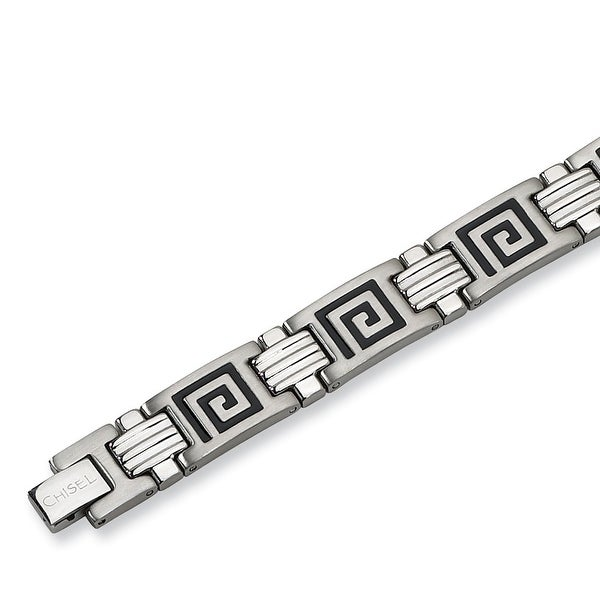 Chisel Black Enamel Brushed and Polished Stainless Steel Bracelet - 9 Inches