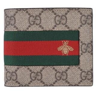 Gucci Men's Beige GG Supreme Canvas Red Green Web BEE Bifold Wallet - 4.5 x 3.5