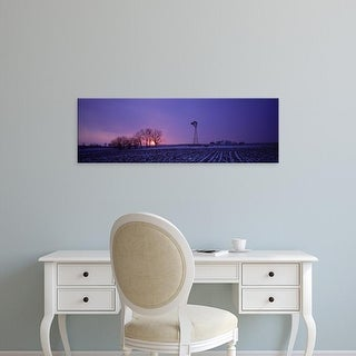 Easy Art Prints Panoramic Images's 'Windmill in a field, Illinois, USA' Premium Canvas Art