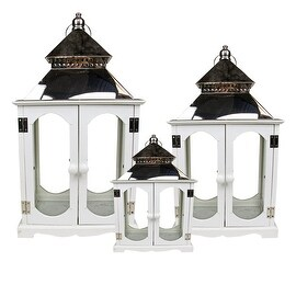 Set of 3 Country Vineyard White and Stainless Steel Decorative Candle Holder Lanterns 15-30.5""