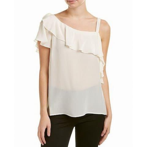 Nanette Lepore Womens Blouse White Size XS Ruffle Cold Shoulder Silk