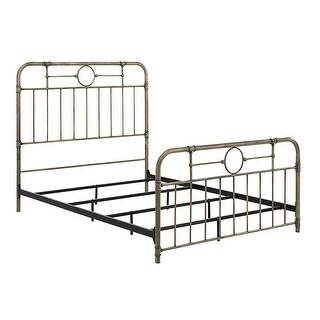 Offex Industrial Pipe Design Antique Bronze Metal Queen Bed