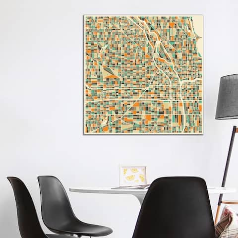"""iCanvas """"Abstract City Map of Chicago"""" by Jazzberry Blue Canvas Print"""