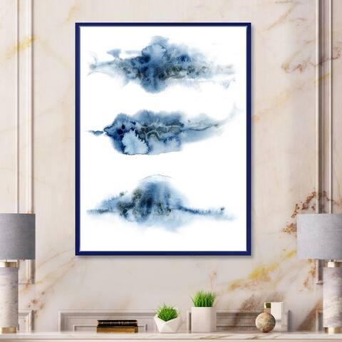 Designart 'Abstract of Dark Blue Clouds VII' Modern Framed Canvas Wall Art Print