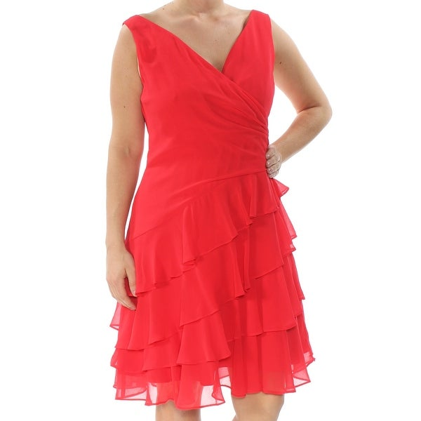 89e7592b941 Shop RALPH LAUREN Womens Red Layered Ruffles Sleeveless V Neck Knee Length  Fit + Flare Cocktail Dress Size  12 - Free Shipping On Orders Over  45 ...