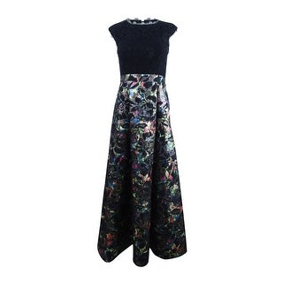 Aidan Mattox Women's Lace Top Floral Ballgown - Black Multi
