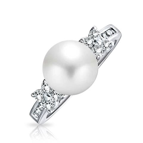 Pave CZ Band White Imitation Pearl Solitaire Engagement Promise Ring For Women Silver Plated Brass 8MM