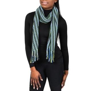 Missoni D4900 Wool Blend Crochet Knit Zigzag Scarf