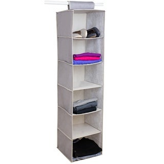 Home Basics Kensington 6-Shelf Hanging Closet Organizer, Beige, 12x12x47 Inches