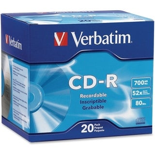 """Verbatim 94936 Verbatim CD-R 700MB 52X with Branded Surface - 20pk Slim Case - 1.33 Hour Maximum Recording Time"""