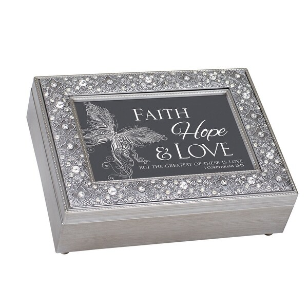"8"" Gray and Black Rectangular Religious Musical Box - N/A"