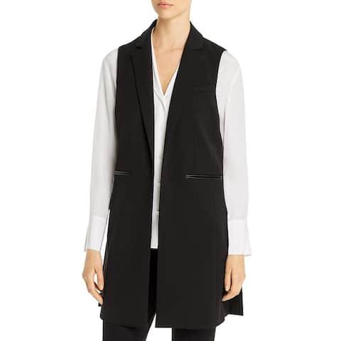 Kenneth Cole New York Womens Vest Faux Leather Trim Long - Black