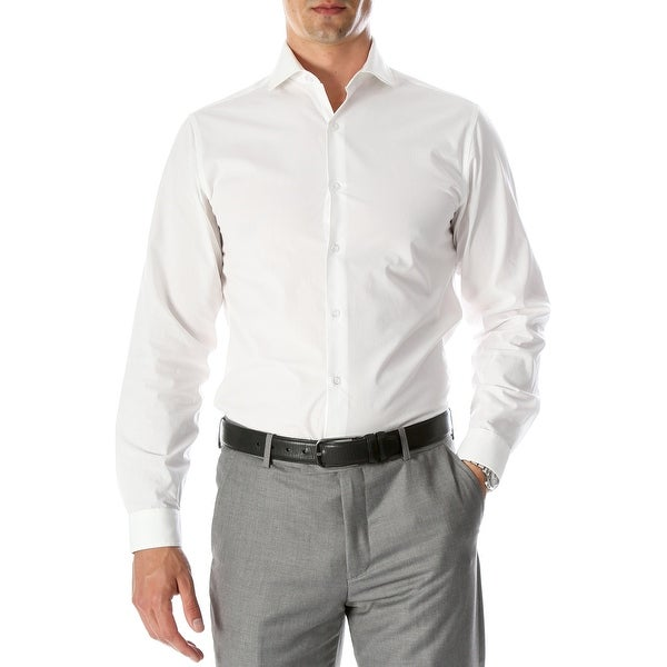 Ferrecci Mens Leo Slim Fit Cotton Long Sleeve Dress Shirt. Opens flyout.