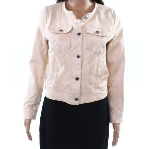 Lauren by Ralph Lauren Pink Women's 8 Trucker Leather Jacket