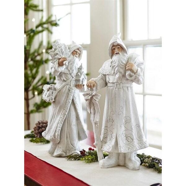 "Set of 2 Glistening Winter Christmas Santa Clause Decorative Figurines 22"" - WHITE"