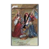 Merry Christmas - Nativity Scene - Vintage Holiday (Acrylic Wall Clock) - acrylic wall clock