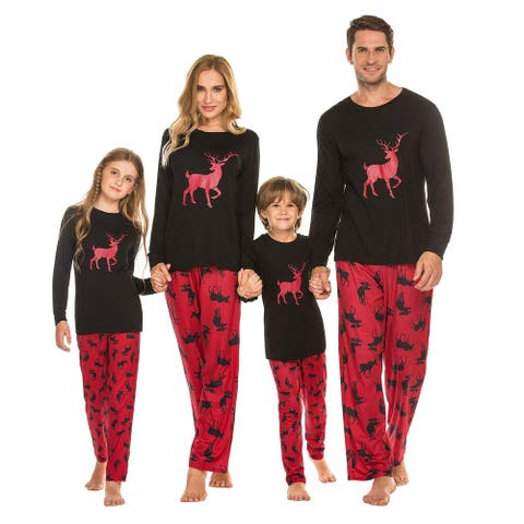 Ekouaer Christmas Matching PJs for Family Kids Pajama Cozy, Black, Size Kids-140(Age for 12-13Y) - Kids-140(Age for 12-13Y)