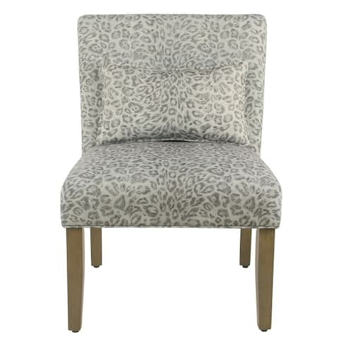Porch & Den Alvord Grey Cheetah Accent Chair with pillow